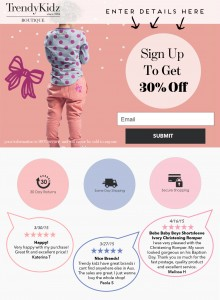 landing page sign up page